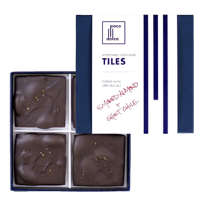 Bittersweet Chocolate Tiles with Smoked Almonds and Ghost Chile Salt - Poco Dolce Confections